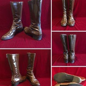 Mid Calf Leather Boots 1.5 Block Heel 7 B